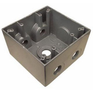 Morris Products 36370 Weatherproof Boxes - Two Gang Deep 37 Cubic Inch Capacity - 5 Outlet Holes 1 2 Gray-1