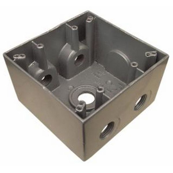 Morris Products 36390 Weatherproof Boxes - Two Gang Deep 37 Cubic Inch Capacity - 5 Outlet Holes 1 Gray-1