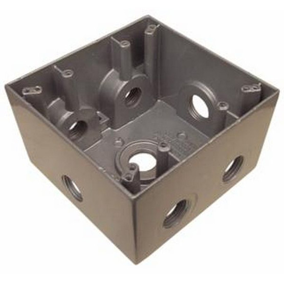 Morris Products 36410 Weatherproof Boxes - Two Gang Deep 37 Cubic Inch Capacity - 7 Outlet Holes 3 4 Gray-1