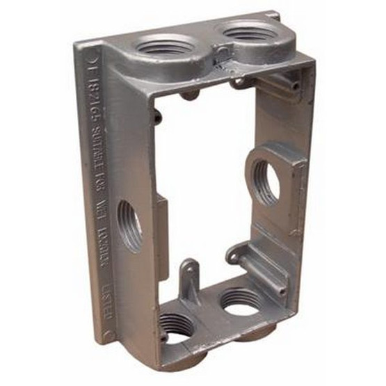 Morris Products 36550 Weatherproof One Gang Flanged Box Extension Adapter - 6 Outlet Holes 3 4 Gray-1