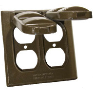 Morris Products 37214 Two Gang Weatherproof Covers - 2 Duplex Receptacles Bronze-1