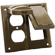Morris Products 37224 Two Gang Weatherproof Covers - 1 Gfci & 1 Duplex Receptacle Bronze-1