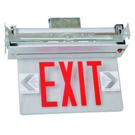 Morris Products 73412 Recessed Mount Edge Lit Exit Sign Double Sided Legend Red Led Aluminum Housing-1