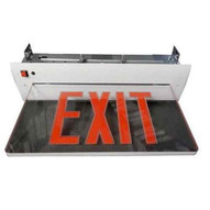 Morris Products 73413 Recessed Mount Edge Lit Exit Sign Double Sided Legend Red Led White Housing-1
