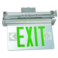 Morris Products 73415 Recessed Mount Edge Lit Exit Sign Double Sided Legend Green Led Aluminum Housing-1