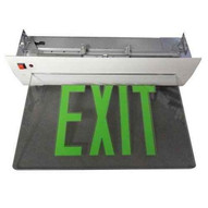 Morris Products 73416 Recessed Mount Edge Lit Exit Sign Double Sided Legend Green Led White Housing-1