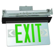 Morris Products 73417 Recessed Mount Edge Lit Exit Sign Double Sided Legend Green Led Black Housing-1