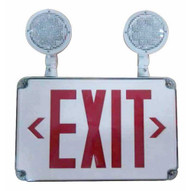 Morris Products 73456 Led Wet Location Combo Exit Signs & Emergency Light Red Legend-1