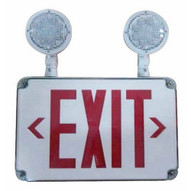 Morris Products 73458 Led Wet Location Combo Exit Signs & Emergency Light Red Legend Remote Capable-1