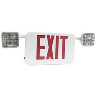 Morris Products 73474 Led Square Rotatable Head Combo Exit Emergency Light Self Diagnostic Remote Capable Red Led White Housing-1