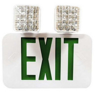 Morris Products 73476 Led Square Rotatable Head Combo Exit Emergency Light Self Diagnostic Remote Capable Green Led White Housing-1