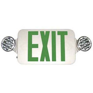 Morris Products 73534 Round Head Led Combo Exit Emergency Light With Self Diagnostic Green Led White Housing-1
