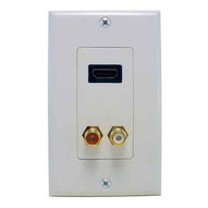 Morris Products 80450 Combination Hdmi Plate & Dual Rca Connector (r&w) Home Enterainment Wallplate-1