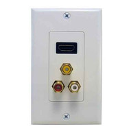Morris Products 80452 Combination Hdmi Plate & Three Rca Connectors (rwy) Home Enterainment Wallplate-1