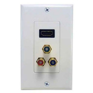 Morris Products 80454 Combination Hdmi Plate & Three Rca Connectors (rgb) Home Enterainment Wallplate-1