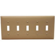 Morris Products 81050 Lexan Wall Plates 5 Gang Toggle Switch Ivory-1