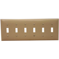 Morris Products 81060 Lexan Wall Plates 6 Gang Toggle Switch Ivory-1