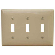 Morris Products 81755 Lexan Wall Plates 3 Gang Midsize Toggle Switch Ivory-1