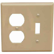 Morris Products 81795 Lexan Wall Plates 2 Gang Midsize Toggle & Duplex Wallplates Ivory-1