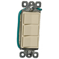 Morris Products 81970 Commercial Grade Decorator Triple Rocker Switch Ivory 15a-120 277v-1