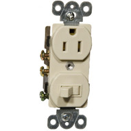 Morris Products 82175 Combination Single Pole Switch And Receptacle Ivory 15a-120v-1