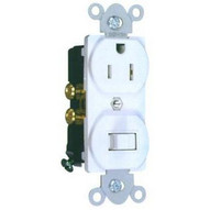Morris Products 82176 Combination Single Pole Switch And Receptacle White 15a-120v-1