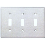 Morris Products 83030 Stainless Steel Metal Wall Plates 3 Gang Toggle Switch-1