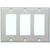Morris Products 83130 Stainless Steel Metal Wall Plates 3 Gang Decorator gfci-1