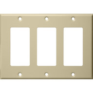 Morris Products 83133 Stainless Steel Metal Wall Plates 3 Gang Decorator gfci Ivory-1