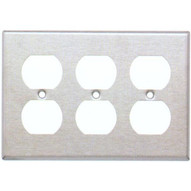 Morris Products 83230 Stainless Steel Metal Wall Plates 3 Gang Duplex Receptacle-1