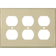 Morris Products 83233 Stainless Steel Metal Wall Plates 3 Gang Duplex Receptacle Ivory-1