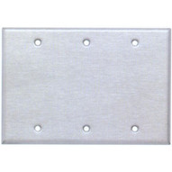 Morris Products 83330 Stainless Steel Metal Wall Plates 3 Gang Blank-1