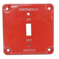Morris Products 83502 Emergency Metal Switch Plates 4 Raised Emergency-1