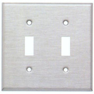 Morris Products 83660 Stainless Steel Metal Wall Plates Midsize 2 Gang Toggle Switch-1