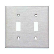 Morris Products 83812 304 Stainless Steel Wall Plates 2 Gang Toggle Switch-1