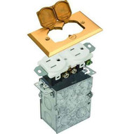 Morris Products 84000 Residential Floor Boxes Hinged Lid Brass-1