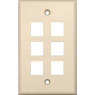 Morris Products 88190 Wallplate For Keystone Jacks & Modular Inserts Six Ports Lt. Almond-1