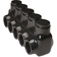 Morris Products 97581 Black Insulated Multi-cable Connector - Single Entry 5 Ports 30 - 6-1
