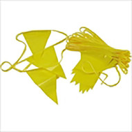 Jescraft PWF-105 Perimeter Warning Flags - 105' Of 18'' Yellow Triangle Flags 500 Lb. Break Strength-1