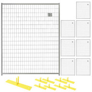 Perimeter Patrol RF 1010 WWG (8) Panels Wclamps (9) Bases- 5 X 6 Welded Wire - Silver Barrier Kit-1