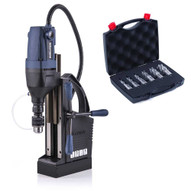 Evolution S28MAG 1-18 Dia x 2 Depth Magnetic Drill W Carry Case w 3 Jaw Chuck and Evolution CC6SET-1 Annular Cutter Set (NEW)-2
