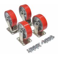 Vestil D-CK4-PU6-2 6 X 2 Poly-on-steel Caster Kit 4800# Cap-2
