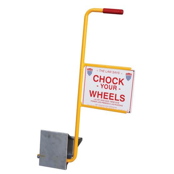 Vestil EALUM-7-HS Aluminum Wheel Chock With Handle & Sign-1