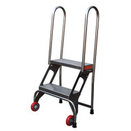 Vestil FLAD-2-SS Folding Ladder W wheels- Stainless Steel-1