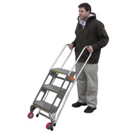 Vestil FLAD-3-SS Folding Ladder W wheels- Stainless Steel-2