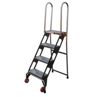 Vestil FLAD-4-SS Folding Ladder W wheels- Stainless Steel-1