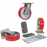 Vestil H-CK3-PU6-2 6 X 2 Poly-on-steel Caster Kit 3600# Cap-2