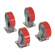 Vestil H-CK4-PU6-2 6 X 2 Poly-on-steel Caster Kit 4800# Cap-1