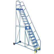 Vestil LAD-14-21-P-EZ 14 Step Perforated Warehouse Ladder Top Step 140-2