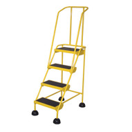 Vestil LAD-4-Y Commercial Spring Loaded Rolling Ladder-1